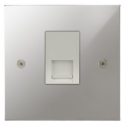 Focus SB Horizon Square Corners NHPC51.1W 1 gang CAT5 RJ45 socket in Polished Chrome with white inserts