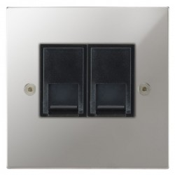 Focus SB Horizon Square Corners NHPC51.2B 2 gang CAT5 RJ45 socket in Polished Chrome with black inserts