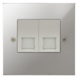 Focus SB Horizon Square Corners NHPC51.2W 2 gang CAT5 RJ45 socket in Polished Chrome with white inserts
