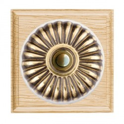 Hamilton Bloomsbury Ovolo Light Oak Fluted Antique Brass Bell Push Toggle with White Insert