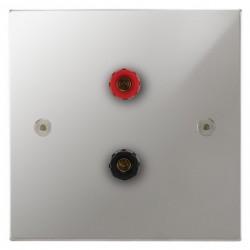 Focus SB Horizon Square Corners NHPC67.1 1 gang speaker outlet (1 red 1 black 4mm socket) in Polished Chrome