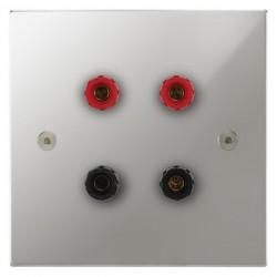 Focus SB Horizon Square Corners NHPC67.2 2 gang speaker outlet (2 red 2 black 4mm socket) in Polished Chrome