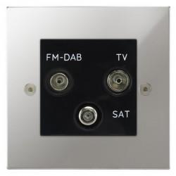 Focus SB Horizon Square Corners NHPC80.3B triplex TV/FM/Satellite outlet in Polished Chrome with black inserts