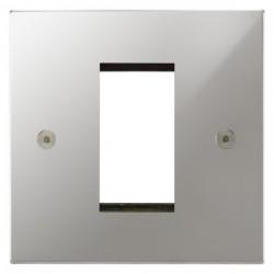 Focus SB Horizon Square Corners NHPCEUR.1 single aperture plate for a single euro module in Polished Chrome