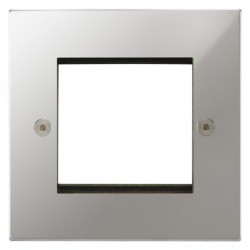 Focus SB Horizon Square Corners NHPCEUR.2 single aperture plate for two single euro modules in Polished Chrome