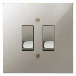 Focus SB Horizon Square Corners NHPN11.2 trimless 2 gang 20 amp 2 way rocker switch in Polished Nickel