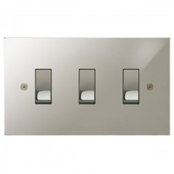 Focus SB Horizon Square Corners NHPN11.3 trimless 3 gang 20 amp 2 way rocker switch in Polished Nickel