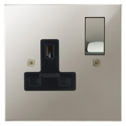 Focus SB Horizon Square Corners NHPN18.1B 1 gang 13 amp switched socket in Polished Nickel with black inserts