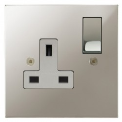 Focus SB Horizon Square Corners NHPN18.1W 1 gang 13 amp switched socket in Polished Nickel with white inserts