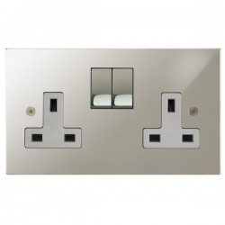 Focus SB Horizon Square Corners NHPN18.2W 2 gang 13 amp switched socket in Polished Nickel with white inserts