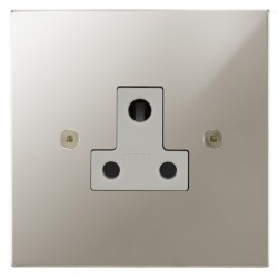 Focus SB Horizon Square Corners NHPN20.1W 1 gang 5 amp unswitched socket in Polished Nickel with white inserts