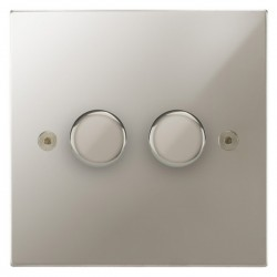 Focus SB Horizon Square Corners NHPN21.2 2 gang 2 way 250W (mains and low voltage) dimmer in Polished Nickel