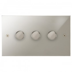 Focus SB Horizon Square Corners NHPN21.3 3 gang 2 way 250W (mains and low voltage) dimmer in Polished Nickel