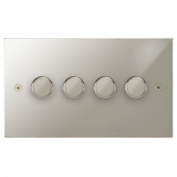 Focus SB Horizon Square Corners NHPN21.4 4 gang 2 way 250W (mains and low voltage) dimmer in Polished Nickel