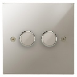 Focus SB Horizon Square Corners NHPN22.2 2 gang 2 way 400W (mains and low voltage) dimmer in Polished Nickel