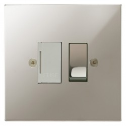 Focus SB Horizon Square Corners NHPN26.1W 13 amp switched fuse spur in Polished Nickel with white inserts