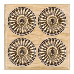 Hamilton Bloomsbury Ovolo Light Oak Fluted Antique Brass 4 Gang 2 Way Toggle with Black Insert