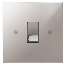 Focus SB Horizon Square Corners NHPS11.1 trimless 1 gang 20 amp 2 way rocker switch in Polished Stainless