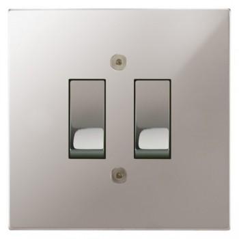Focus SB Horizon Square Corners NHPS11.2 trimless 2 gang 20 amp 2 way rocker switch in Polished Stainless