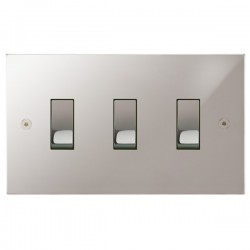 Focus SB Horizon Square Corners NHPS11.3 trimless 3 gang 20 amp 2 way rocker switch in Polished Stainless