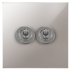 Focus SB Horizon Square Corners NHPS14.2 2 gang 20 amp 2 way toggle switch in Polished Stainless