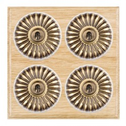 Hamilton Bloomsbury Ovolo Light Oak Fluted Antique Brass 4 Gang 2 Way Toggle with White Insert