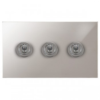 Focus SB Horizon Square Corners NHPS14.3 3 gang 20 amp 2 way toggle switch in Polished Stainless