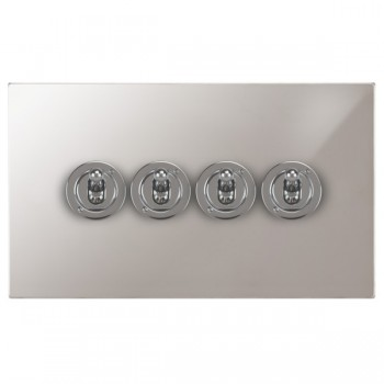 Focus SB Horizon Square Corners NHPS14.4 4 gang 20 amp 2 way toggle switch in Polished Stainless