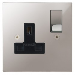 Focus SB Horizon Square Corners NHPS18.1B 1 gang 13 amp switched socket in Polished Stainless with black inserts