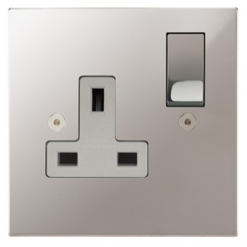 Focus SB Horizon Square Corners NHPS18.1W 1 gang 13 amp switched socket in Polished Stainless with white inserts