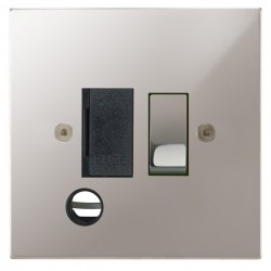 Focus SB Horizon Square Corners NHPS28.1B 13 amp switched fuse spur with cord outlet in Polished Stainless with black inserts