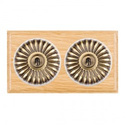 Hamilton Bloomsbury Ovolo Light Oak Fluted Antique Brass 2 Gang Intermediate Toggle with White Insert