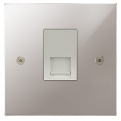 Focus SB Horizon Square Corners NHPS51.1W 1 gang CAT5 RJ45 socket in Polished Stainless with white inserts