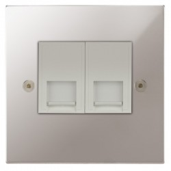 Focus SB Horizon Square Corners NHPS51.2W 2 gang CAT5 RJ45 socket in Polished Stainless with white inserts