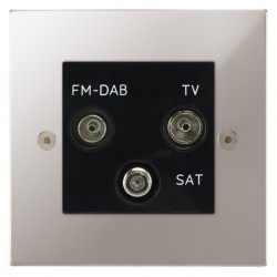 Focus SB Horizon Square Corners NHPS80.3B triplex TV/FM/Satellite outlet in Polished Stainless with black inserts