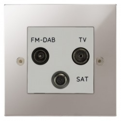 Focus SB Horizon Square Corners NHPS80.3W triplex TV/FM/Satellite outlet in Polished Stainless with white inserts