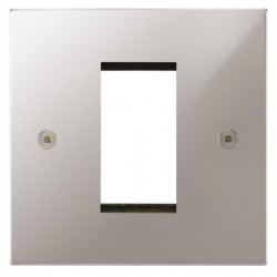 Focus SB Horizon Square Corners NHPSEUR.1 single aperture plate for a single euro module in Polished Stainless