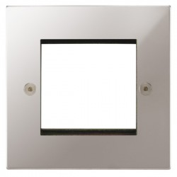 Focus SB Horizon Square Corners NHPSEUR.2 single aperture plate for two single euro modules in Polished Stainless