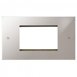 Focus SB Horizon Square Corners NHPSEUR.3 double aperture plate for three single euro modules in Polished Stainless