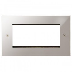 Focus SB Horizon Square Corners NHPSEUR.4 double aperture plate for four single euro modules in Polished Stainless