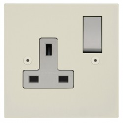 Focus SB Horizon Square Corners NHPW17.1W 1 gang 13 amp switched socket in Primed White with white inserts