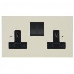 Focus SB Horizon Square Corners NHPW17.2B 2 gang 13 amp switched socket in Primed White with black inserts