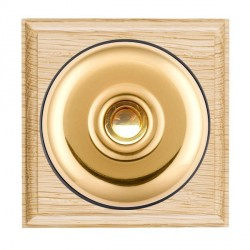 Hamilton Bloomsbury Ovolo Light Oak Plain Polished Brass Bell Push Toggle with Black Insert