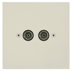 Focus SB Horizon Square Corners NHPW23.2 2 gang isolated co-axial TV socket in Primed White