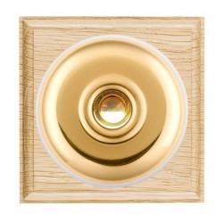 Hamilton Bloomsbury Ovolo Light Oak Plain Polished Brass Bell Push Toggle with White Insert