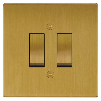 Focus SB Horizon Square Corners NHSB11.2 trimless 2 gang 20 amp 2 way rocker switch in Satin Brass
