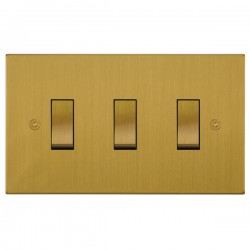 Focus SB Horizon Square Corners NHSB11.3 trimless 3 gang 20 amp 2 way rocker switch in Satin Brass