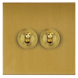 Focus SB Horizon Square Corners NHSB14.2 2 gang 20 amp 2 way toggle switch in Satin Brass