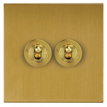 Focus SB Horizon Square Corners NHSB14.2 2 gang 20 amp 2 way toggle switch in Satin Brass