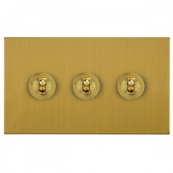 Focus SB Horizon Square Corners NHSB14.3 3 gang 20 amp 2 way toggle switch in Satin Brass